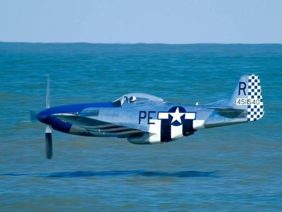 P-51 Low Pass over the Sea