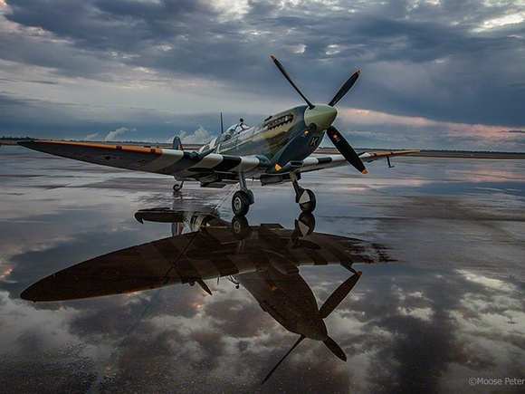 Spitfire MkIX on the ramp in the puddle