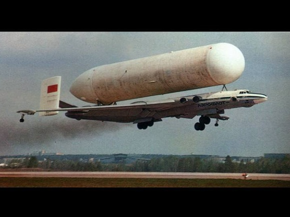 'Bison' bomber carrying a Buran Booster tank