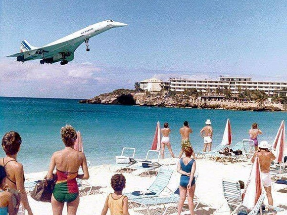 Vintage Photo Of The One Time A Concorde Landed Over Maho Beach