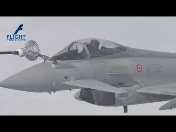 Air to Air Refueling of Military Aircraft Eurofighter Typhoon 4K Video