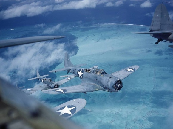 Douglas SBD Dauntless dive bombers over the Pacific during 1943