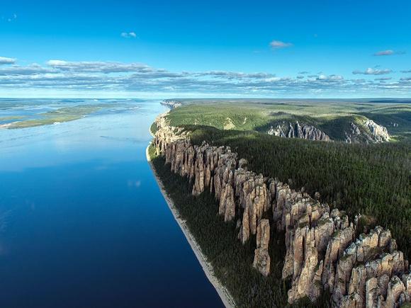 "Over Yakutia, Russia (""Lenskie Stolbi"")"