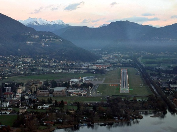 Lugano Agno Airport approach landing