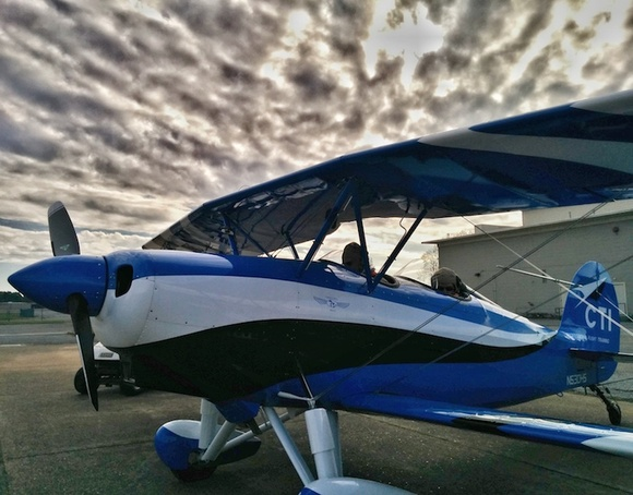 A morning biplane flight