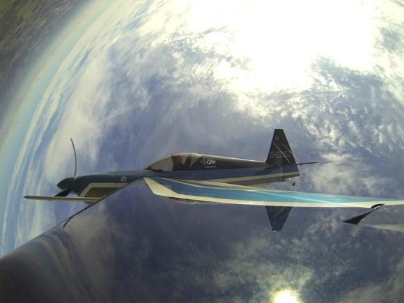 David Jenkins practicing aerobatics in his Edge