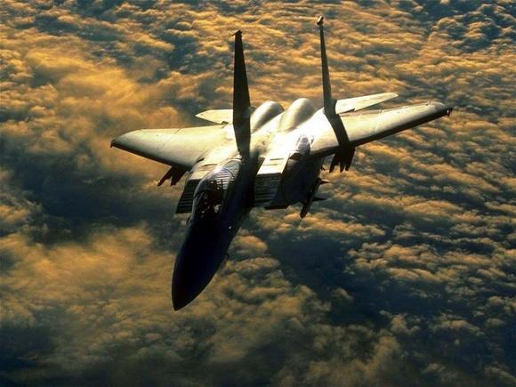 F 15 at sunset