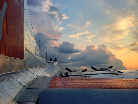 B-17 resting quietly as a glorious day ends