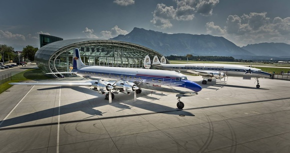 DC6 and Breitling Connie gathering in front of HANGAR-7 during the Scalaria Air Challenge