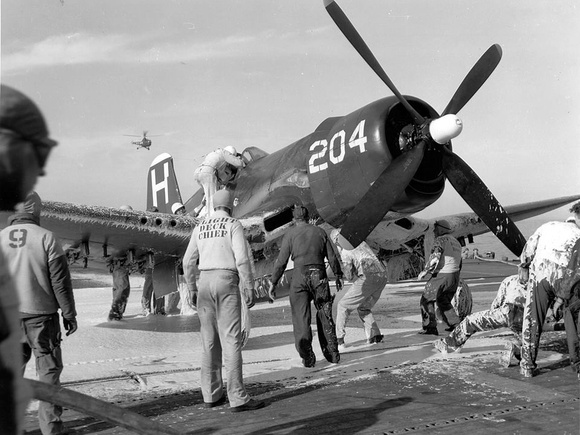 F4U-4 Corsair of Fighter Squadron (VF) 713 after the extinguishing of a fire on the aircraft